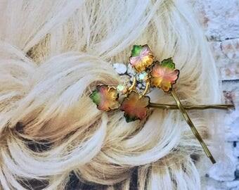 1940's Fantasy Molded Art Glass Leaf Hairpins Bobby Pins, Wedding Bridal Bridesmaid Perfect