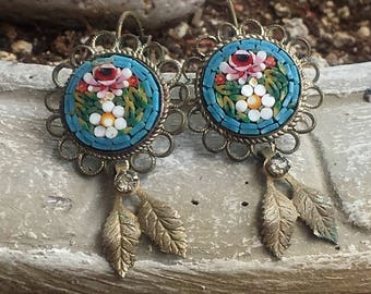 Reign Bridal Blue Micro Mosaic Earrings, Artisan Assemblage Jewelry Romantic Renaissance  Wedding