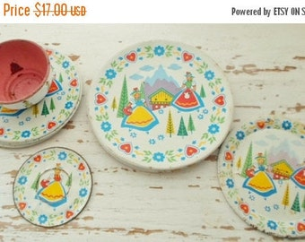 ON SALE Vintage 1950s Scandinavian Design Tin Litho Toy Dishes, 1 Tea Cup, 4 Saucers, 4 Plates, Retro, Alpine Maids, 50s, Toy Dishes, Child