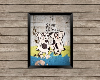 Save the Animals - Cows - Mural - Street Art - Photography - Photo Print