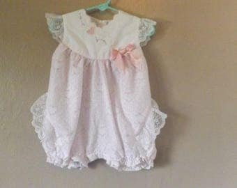 Baby Girls Pink Romper Jumper Lace Flower Girls Size 24 Months Vintage Kids Clothes Pretty In Pink