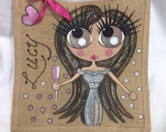 Handpainted Personalised Highly Glittered Jute Handbag Gift Bag Hen Party Beauty Pageant Prom Dress Style
