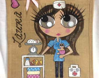 Handpainted Personalised Midwife Jute Handbag Gift Bag Hen Party Celebrity Style