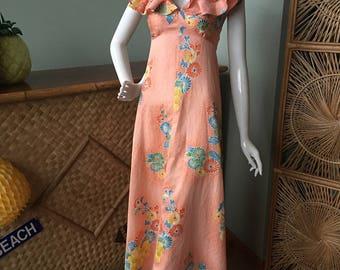 A most adorable Hawaiian/Asian inspired muu muu / maxi dress.  1950's-70's