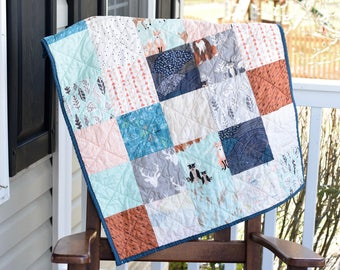 Baby Boy Quilt- Ready to ship quilt, bear quilt, , baby shower gift, gender neutral quilt, Mushroom quilt, Fox quilt, Blue quilt