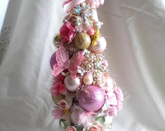 Mothers MOTHER Day Gift Bottle Brush Tree Vintage Lefton Swan Planter Holder Rhinestone Jewelry set in Gold Pink Ornaments Roses Trims