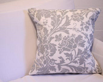 "17x17"" Grey & White Botanical Birds Pillow Cover"