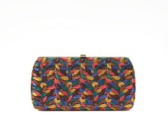 Amazing Multi Color Embroidered Vintage Clutch Purse / Leaf Feather Detail / Hand Bag / 1950s 1960s