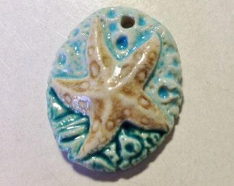 Handmade artisan ceramic Starfish pendant, aqua, beach jewelry