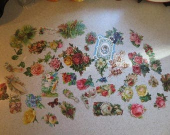 Antique Victorian Ephemera Floral Die-Cuts Huge Lot of Over 40 Pieces