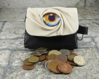Zippered Coin Purse Cream Black Leather Change Purse Monster Face Pouch Key Ring Harry Potter Labyrinth