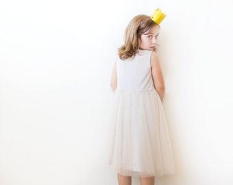Champagne tulle girls dress, Princess dress, Flower girl champagne dress 5007