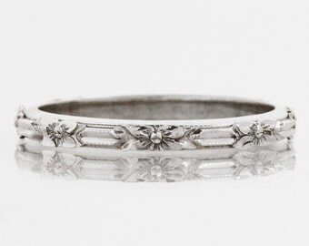 Antique Wedding Band - Antique 14k White Gold Engraved Wedding Band