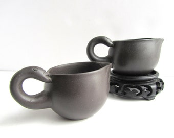 Vintage Chinese Yixing Clay Swan Zisha Chahai Tea Pitcher Cups Signed Stamped