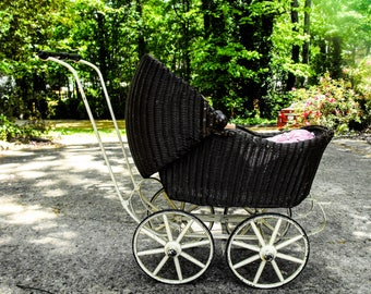 Antique Lloyd Loom Baby Carriage - Wicker Victorian Baby Carriage, Shabby Chic Baby Carriage Decor, Country Chic Decor