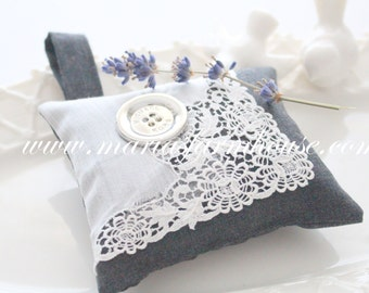 Handmade Dried Lavender Sachet with Vintage Doilie Motif and Large Michael Kor Button, Gifts for Her