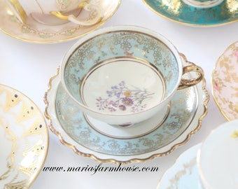 Vintage, Footed, Porcelain Tea Cup & Saucer by Royal Hanover, Bavaria, Germany, High Tea, Little Princess Birthday Tea Party