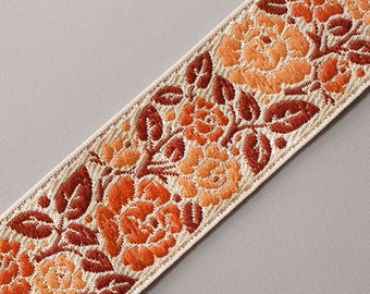 "Shades of Peach Blosoms Jacquard Ribbon Trim Historic Arts & Crafts Style3 yards 1.25 "" wide"