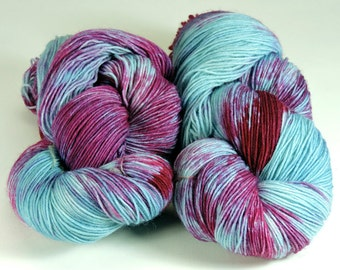Superwash Wool Hand Dyed Sock Nylon Magenta Turquoise 2447