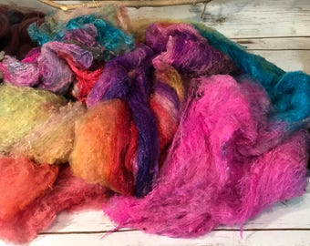 Handpainted Mulberry Silk Lap Spinning Felting Papermaking Crafting Silk sold per oz