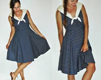 SHIPPING DELAY sale 1980s Navy Blue Polka Dot 1950s Style Sailor Dress