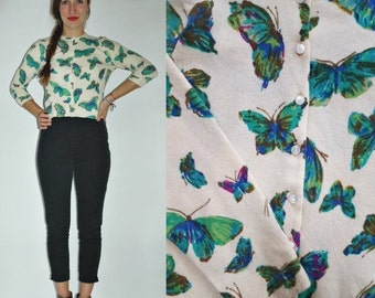 SHIPPING DELAY 1960s Butterfly Print Cashmere Light Wool Cardigan