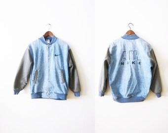 Vintage Nike Jacket / 90s Hip Hop Clothing / 1990s Nike Air Denim Bomber Jacket / Letterman / Grunge Jacket / Medium