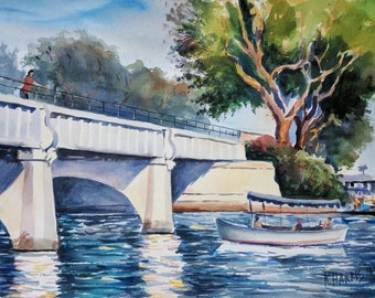 "Original Watercolor of ""Lido Bridge"""