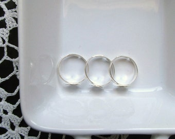 Silver Adjustable Ring Blanks - 10mm Glue Pad Tray - Set of 3
