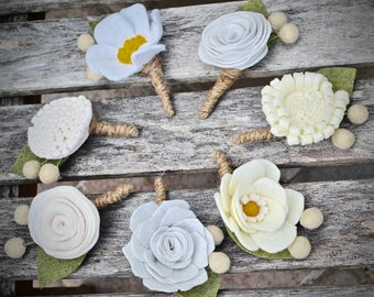 Felt Flower boutonniere  - Grooms accessories, buttonhole, custom