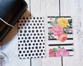 Floral and Dot traveler's notebook dashboard. Please read description!