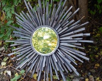 Indigo Grey MidCentury Wood Starburst Mirror READY TO SHIP