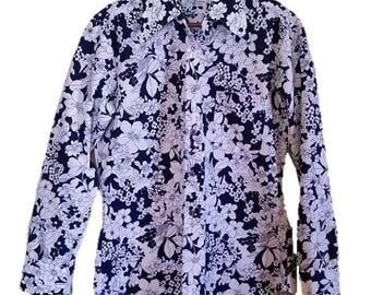 Vintage Hawaiian 1960's Nani Kamaaina long sleeve button up polyester shirt - size Medium - Made in Hong Kong - FLOWER POWER