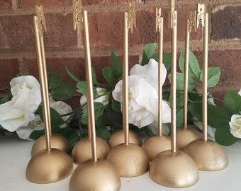 10 Gold Rustic Wood Table Number Holders, Wedding, Shabby Chic, Southern, Wedding Decoration, Rustic Holder, Clothespin, Round, Sturdy