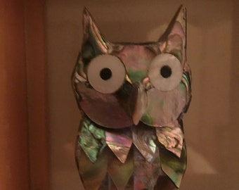 Vintage Owl rare Abalone owl