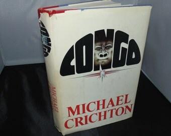 Vintage 1980 Congo Michael Crichton HCDJ BCE