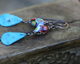 Rustic Antique Millefiori and Kingman turquoise stone earrings n300 . rustic simple festive . light weight . folk folkloric . solid copper .