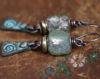 Rustic Primitive Bohemin Folk * Spiral * earrings n98- artisan metalwork . Roman glass cast copper spiral . mystical symbol .  mystic yoga