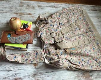 Large Bag Floral Tote Bag Summer and Spring - shoulder strap . beige with flowers . artisan handmade cotton bag . simplistic . natural color