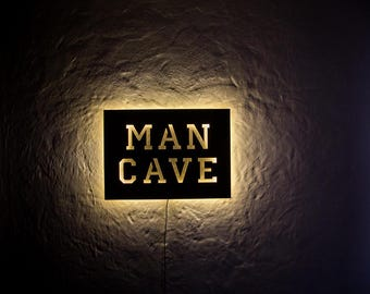 Man Cave LED Sign // Wall Art // Handmade from MDF Unique Wall LED light // Universal current adapter // Free worldwide shipping