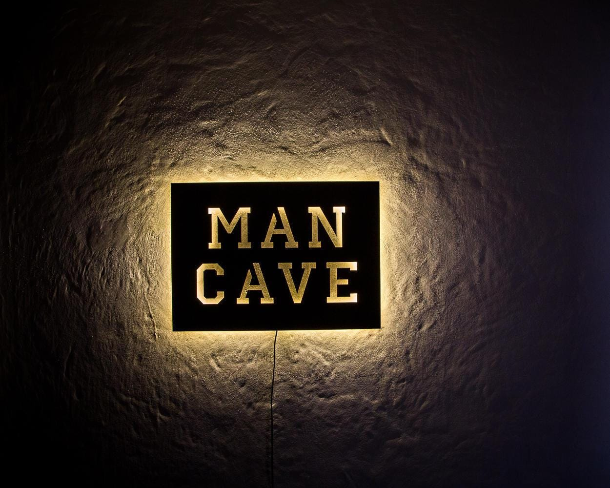 Homemade Man Cave Signs : Man cave led sign wall art handmade from mdf unique