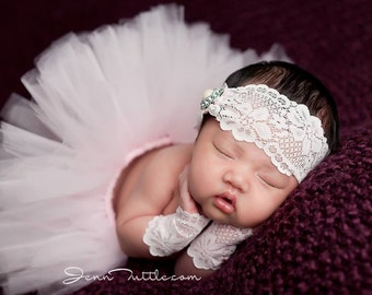 Newborn tutu set, Newborn tutu, Newborn photo prop, Pink tutu set, Baby tutu set, Baby photo prop, Light pink tutu and matching headband