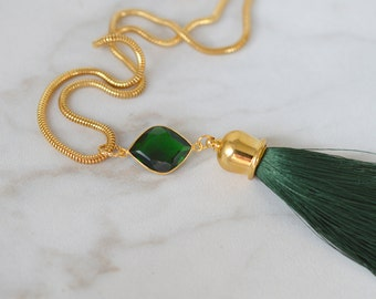 Sophisticated gemstone tassel necklace Green tourmaline and silk tassel pendant on gold chain