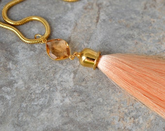 Sophisticated gemstone tassel necklace Hydro morganite marquise shape pendant Peach silk tassel pendant on gold chain Boho necklace
