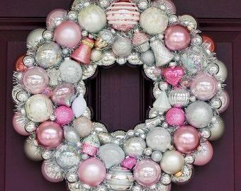 Ornament Wreath, Pink wreath, Vintage Ornament Wreath