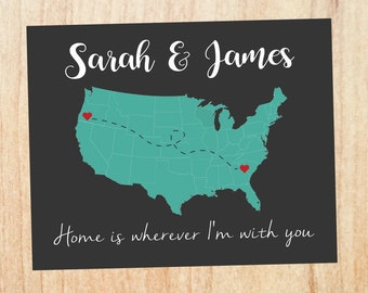 Long Distance Relationship gift Map Printable love map art print home is wherever i'm with you boyfriend gift ldr