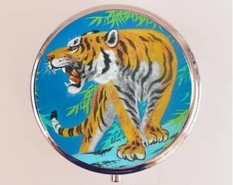 Tiger Pill Box Case Pillbox Holder Stash Trinket Box Animal Pop Art