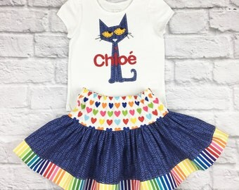 Pete the Cat Personalized Shirt and Skirt Set