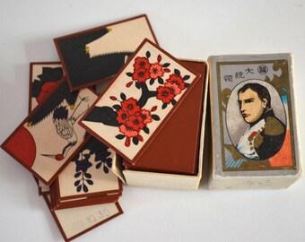 Hanafuda cards, Japanese flower card game, vintage Japanese karuta