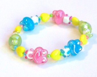 Froggy Friends - Bright Pastel Frog and Heart Stretch Bracelet with Colorful Iridescent Pearl Beads